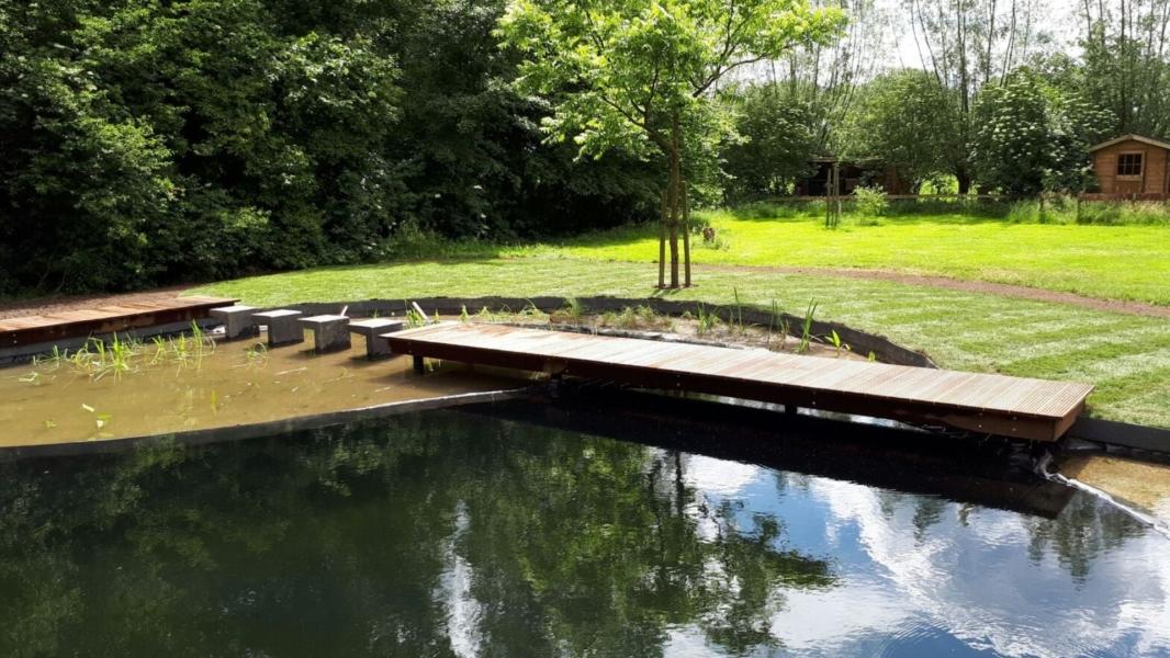 Zwemvijver met een houten pad